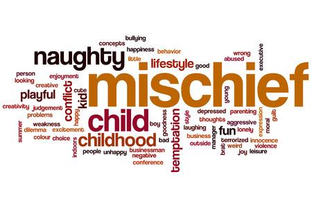 playful behaviour: Mischief word cloud concept