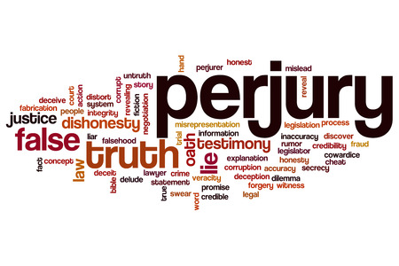 Perjury word cloud concept photo