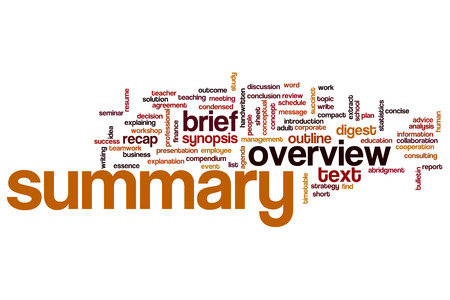 agenda: Summary word cloud concept