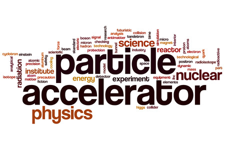 Particle accelerator word cloud concept photo