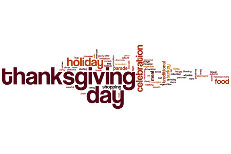 Thanksgiving day word cloud concept Stock Photo