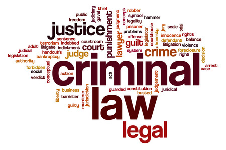 arrested criminal: Criminal law word cloud concept