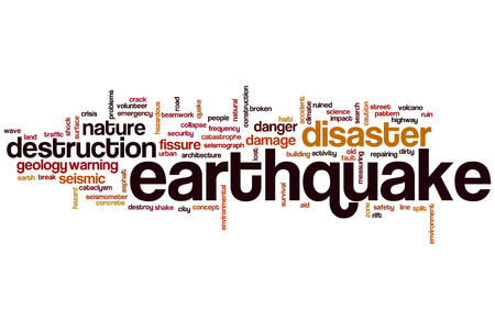 sismogr�fo: Terremoto concepto de nube de palabras
