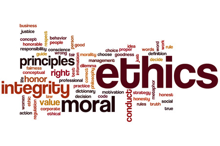 business dilemma: Ethics word cloud concept