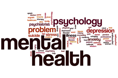 Mental health word cloud concept Stock Photo