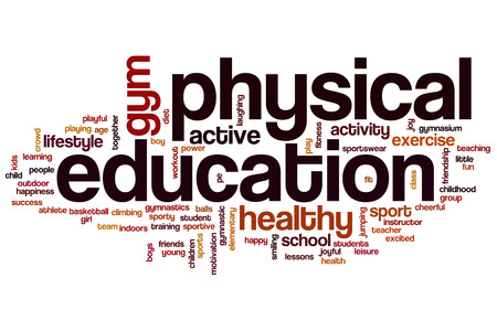 actividad fisica: La educaci�n f�sica de nube de palabras concepto Foto de archivo