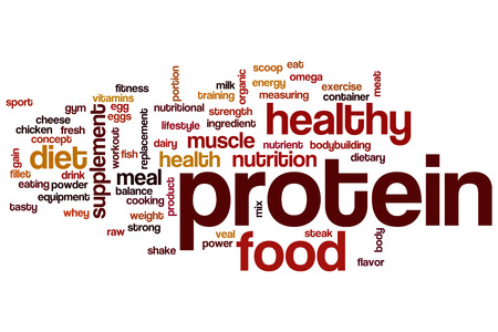 alimentos y bebidas: Proteína concepto de nube de palabras