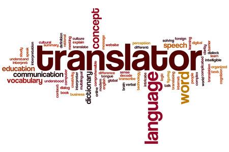 Translator word cloud concept Foto de archivo