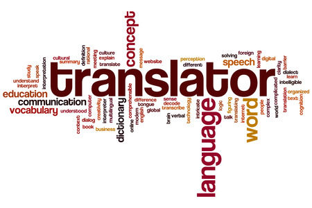 Translator word cloud concept Stok Fotoğraf