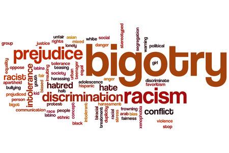 discriminacion: Fanatismo concepto de nube de palabras Foto de archivo