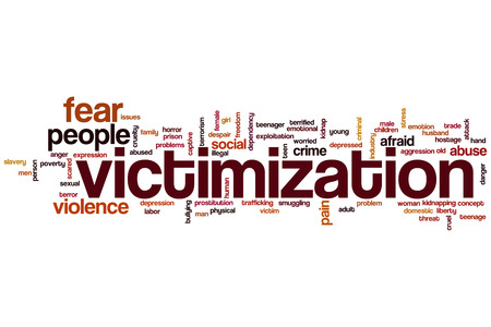 Victimization word cloud concept photo