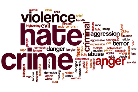 Hate crime word cloud concept photo