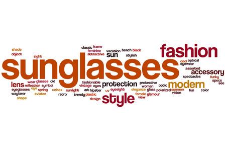 Sunglasses word cloud concept Stock Photo