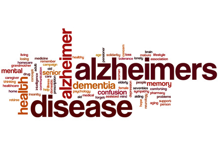 losing memory: Alzheimers disease word cloud concept Stock Photo