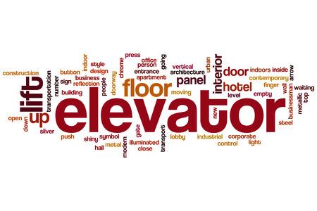 Elevator word cloud concept photo