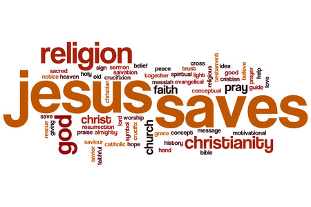 jesus word: Jesus saves word cloud concept Stock Photo