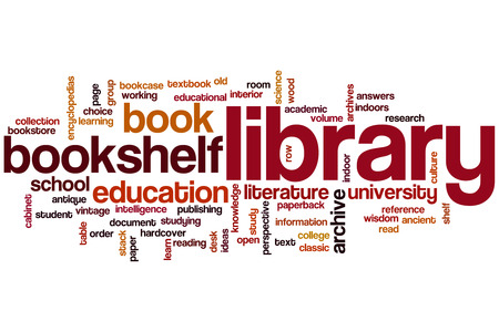 school library: Library word cloud concept Stock Photo