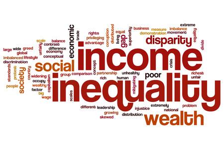 desigualdad: La desigualdad de ingresos concepto de nube de palabras