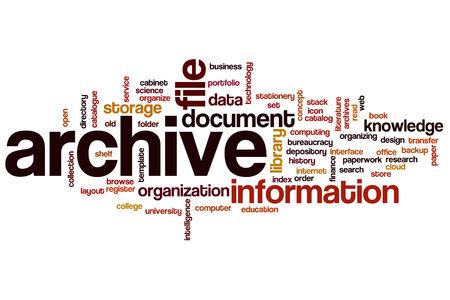 Archive word cloud concept