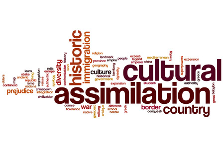 assimilation: Cultural assimilation word cloud concept Stock Photo