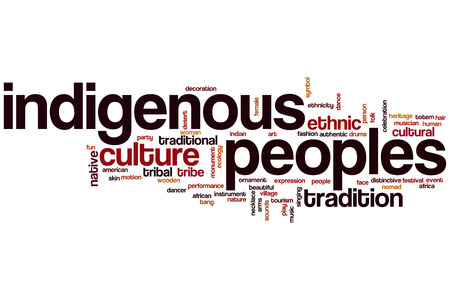 native american ethnicity: Indigenous peoples word cloud concept Stock Photo