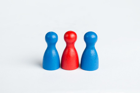 threesome: Threesome concept with game figurines on white