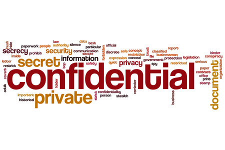 Confidential word cloud concept photo