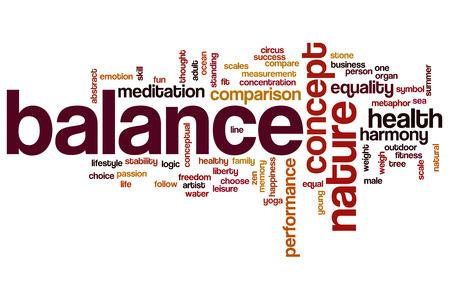 health symbols metaphors: Balance word cloud concept