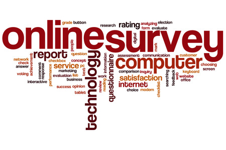Online survey word cloud concept photo
