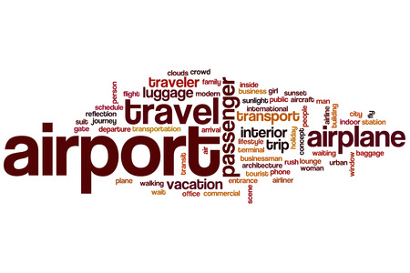 airport lounge: Airport word cloud concept with travel airplane related tags