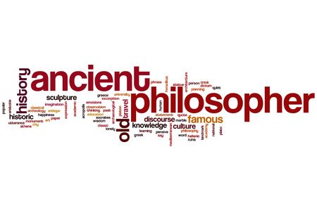 Ancient philosopher word cloud concept with greek history related tags photo