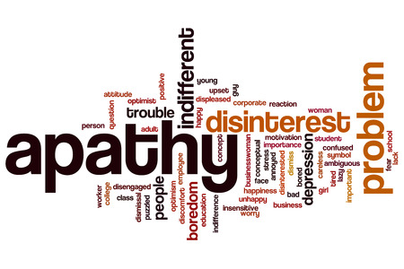 indifferent: Apathy word cloud concept with disinterest indifferent related tags