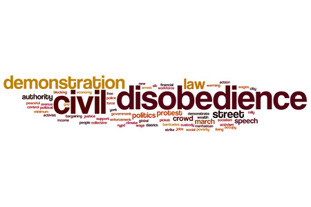 political rally: Civil disobedience word cloud concept with demonstration protest related tags