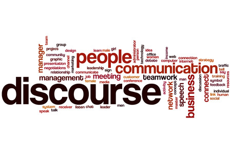 discourse: Discourse word cloud concept with communication talk related tags