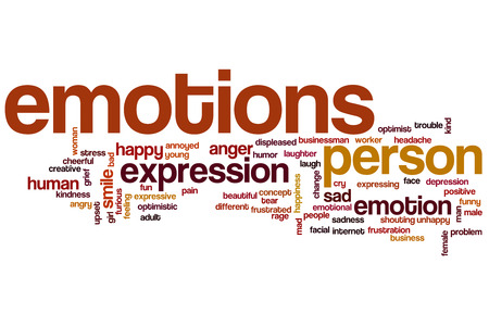 Emotions word cloud concept with happy sad related tags photo
