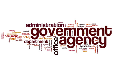 government: Government agency word cloud concept with office administration related tags