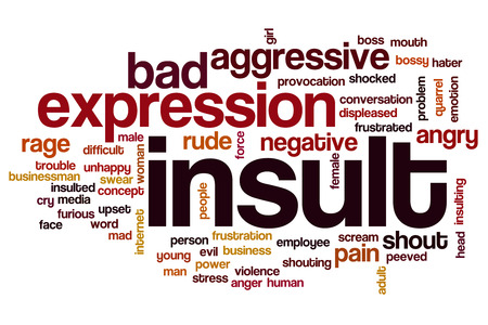 insult: Insult word cloud concept with rude angry related tags