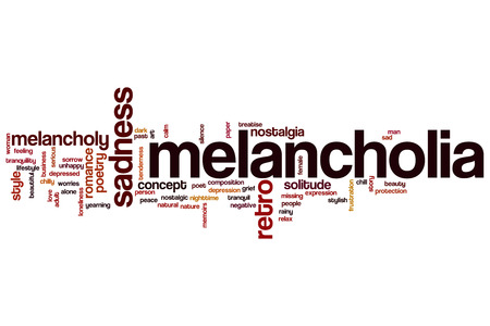 treatise: Melancholia word cloud concept with sad poet related tags Stock Photo