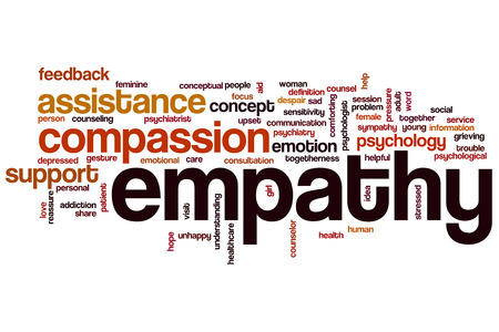 empatia: Empatía concepto de nube de palabras con etiquetas relacionadas emoción compasión