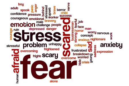 young fear: Fear word cloud concept with scared afraid related tags
