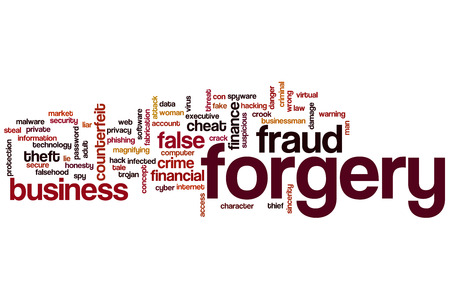 Forgery word cloud concept with fraud false related tags photo
