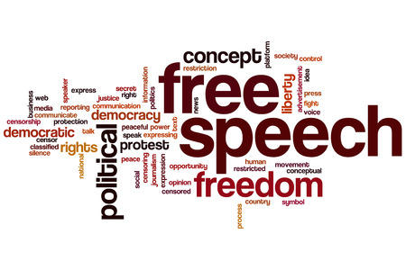 Free speech word cloud concept with expression liberty related tags photo