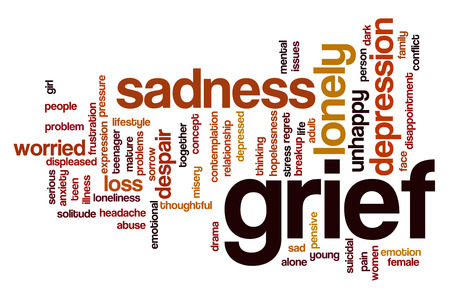 grief: Grief word cloud concept with sad lonely related tags