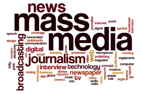 Mass media word cloud concept with journalism news related tags Stock Photo