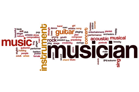Musician word cloud concept with music instrument related tags photo