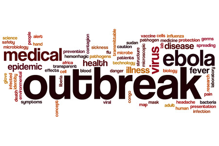 outbreak: Outbreak word cloud concept with ebola epidemic related tags Stock Photo