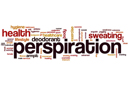 perspiration: Perspiration word cloud concept with sweat health related tags