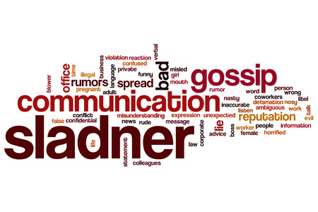 libel: Slander word cloud concept with gossip news related tags
