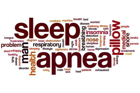 apnea: Apnea del sonno nube concetto di parola con tag insonnia russare correlati
