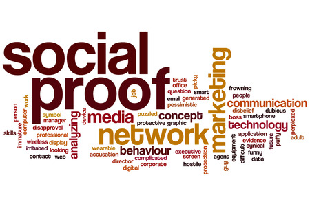 dubious: Social proof word cloud concept with network media related tags Stock Photo
